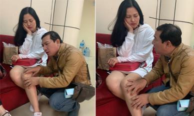 Diễn viên Thúy Hà khoe ảnh được 'Táo kinh tế' Quang Thắng nắn nắn chân ở hậu trường