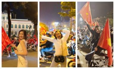 Dàn Hoa hậu Việt xuống phố ăn mừng đẹp xuất sắc: Mặt mộc, cầm cờ đỏ sao vàng đã xinh hết phần người