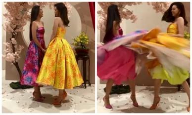 Hoa hậu Khánh Vân - Á hậu Kim Duyên tái hiện màn nắm tay trao giải, nhưng cực hài với tình tiết tốc váy
