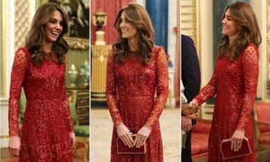 """Thể hiện đẳng cấp """"chị đại"""": Công nương Kate tỏa sáng với set đồ đỏ quyền lực bất chấp lùm xùm của vợ chồng em dâu"""
