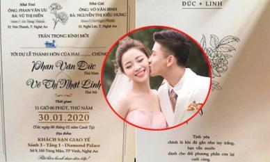 Hé lộ thiệp mời đám cưới với thông điệp đăc biệt của Phan Văn Đức và vợ hot girl