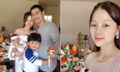 Khánh Hiền 'Tôi thấy hoa vàng trên cỏ xanh' tổ chức tiệc đầy tháng cho con thứ hai