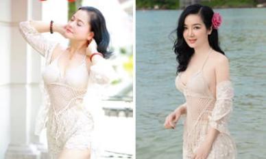 Nghệ sĩ Thu Quế đụng hàng đồ bơi với Hoa hậu Đền Hùng Giáng My: Vóc dáng không kém cạnh nhau