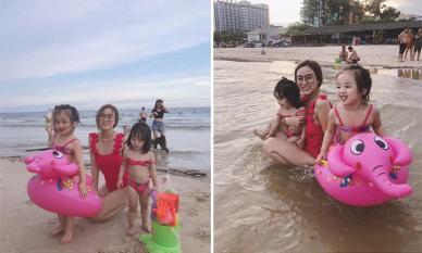 Vợ cũ Hoài Lâm diện bikini, vui đùa cùng hai con khi đi du lịch Vũng Tàu