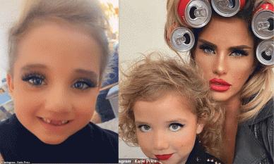 'Bom sex' Katie Price bị chỉ trích khi cho con gái mới 6 tuổi make up dày bự phấn