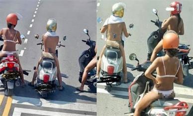 3 cô gái mặc đồ lót ra đường, thản nhiên chạy xe diễu phố khiến dân tình sôi máu