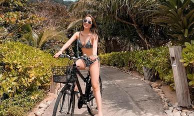 Quỳnh Nga mặc bikini gợi cảm đạp xe, Việt Anh liền vào bình luận khiến dân tình 'đỏ mặt'