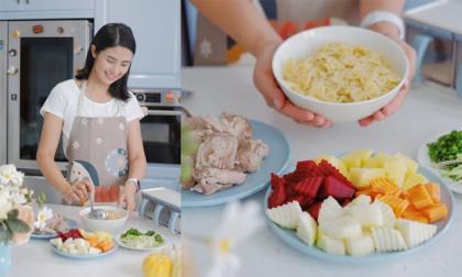 Hoa hậu Ngọc Hân chia sẻ công thức nấu món ngon lạ miệng cho bà bầu -  nui hầm rau củ sườn non