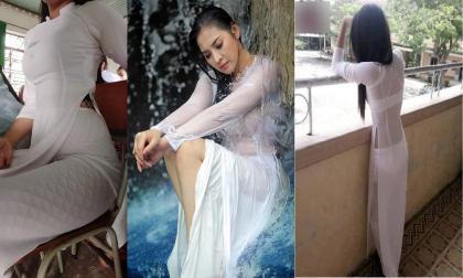 Nữ sinh diện áo dài cánh chuồn kết hợp với quần tất lưới gây bức xúc