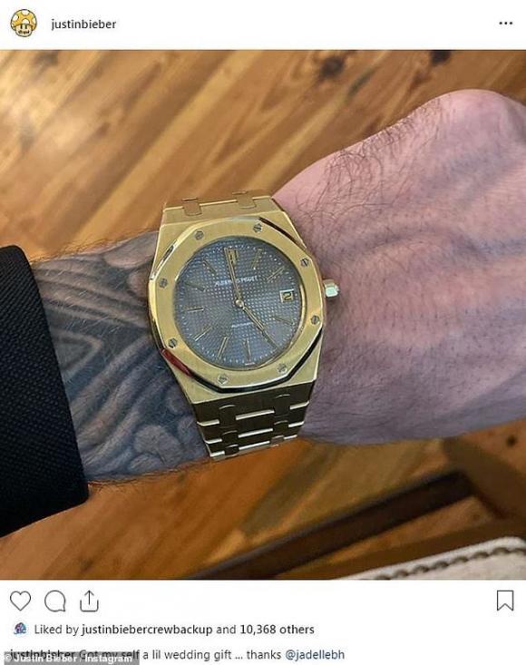 justin bieber, đồng hồ tiền tỷ, đám cưới, đồng hồ tiền tỷ
