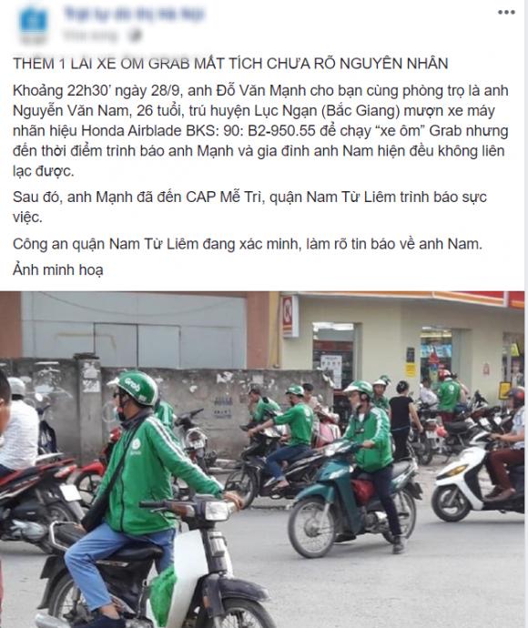GrabBike mất tích, xe ôm công nghệ, cầm đồ, Nam Từ Liêm, Hà Nội