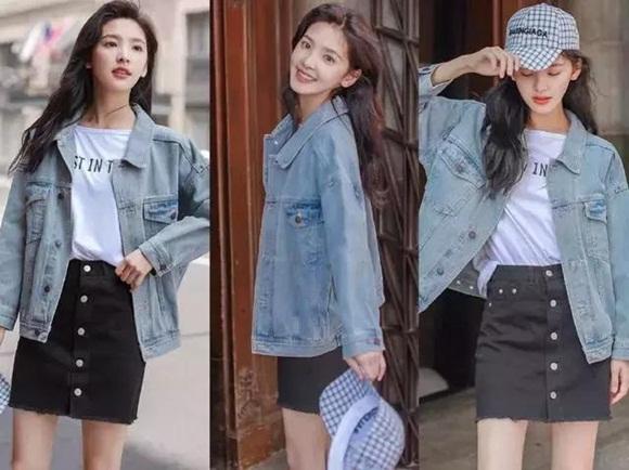 trang phục thu, áo denim jacket, quần culottes