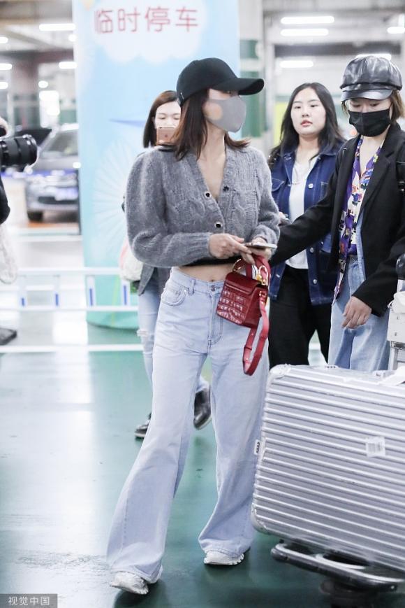 tần lam, khoe rốn, thời trang sân bay, sao hoa ngữ