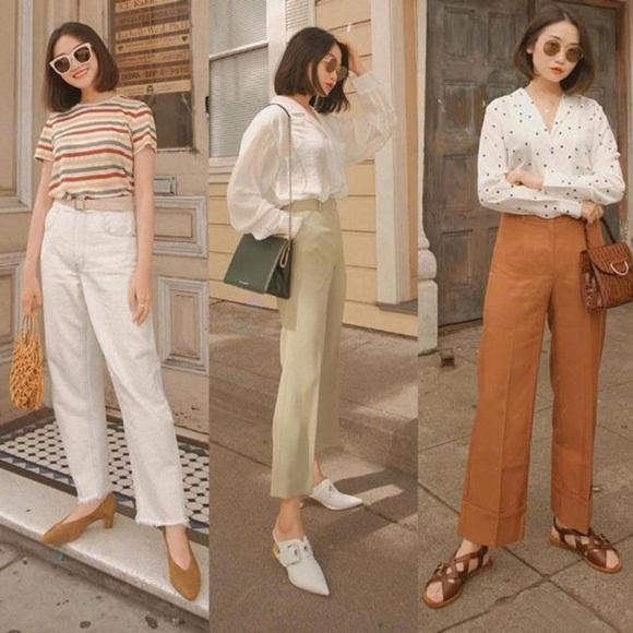 thời trang thu, quần ống rộng, quần culottes