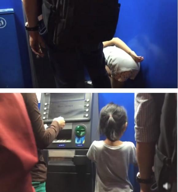 hành động đẹp, bé gái, cây ATM, mạng xã hội