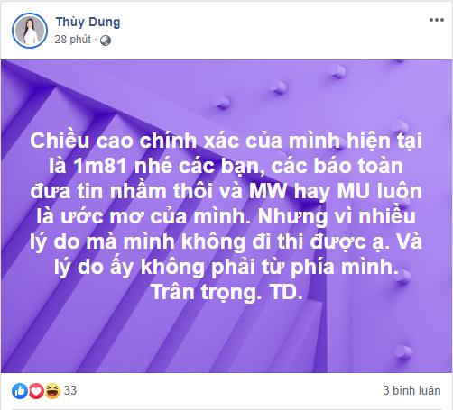 Hoa hậu Thùy Dung tiết lộ chiều cao hiện tại, Miss World hay Miss Universe luôn là mơ ước