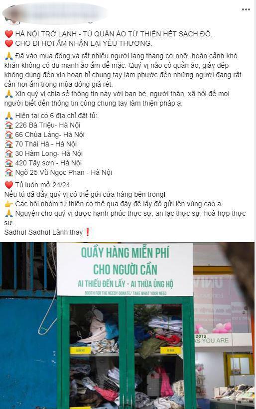 Tủ quần áo từ thiện, Từ thiện ở Hà Nội, Tin xã hội