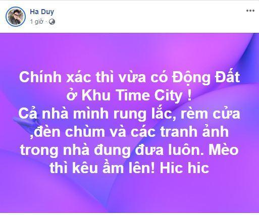 NTK Hà Duy, Đậu Hồng Phúc, sao Việt, động đất, rung lắc