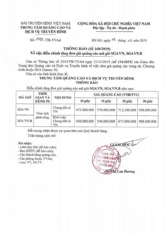 SEA Games 30, U22 Việt Nam, Indonesia, quảng cáo
