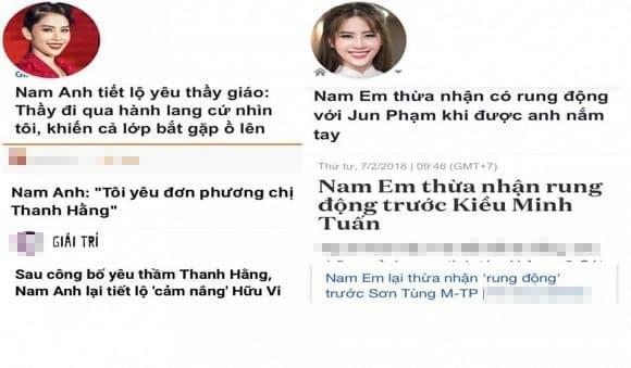 Hoa khôi Nam Em, Nam Anh, sao Việt