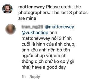 Vũ Khắc Tiệp bị nhiếp ảnh gia nước ngoài nhắc nhở về bản quyền hình ảnh