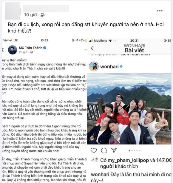 Trấn Thành bị cư dân mạng cà khịa: 'Bạn đi du lịch, xong rồi đăng status khuyên người ta nên ở nhà'