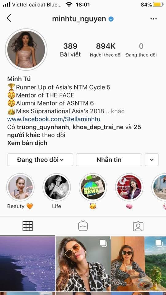 Minh Tú gây hoang mang khi hủy theo dõi tất cả bạn bè trên Instagram