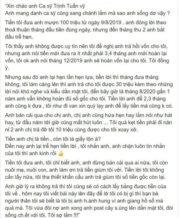 Ca sĩ Trịnh Tuấn Vỹ lên tiếng khi bị tố lừa đảo 100 triệu và đe dọa chủ nợ