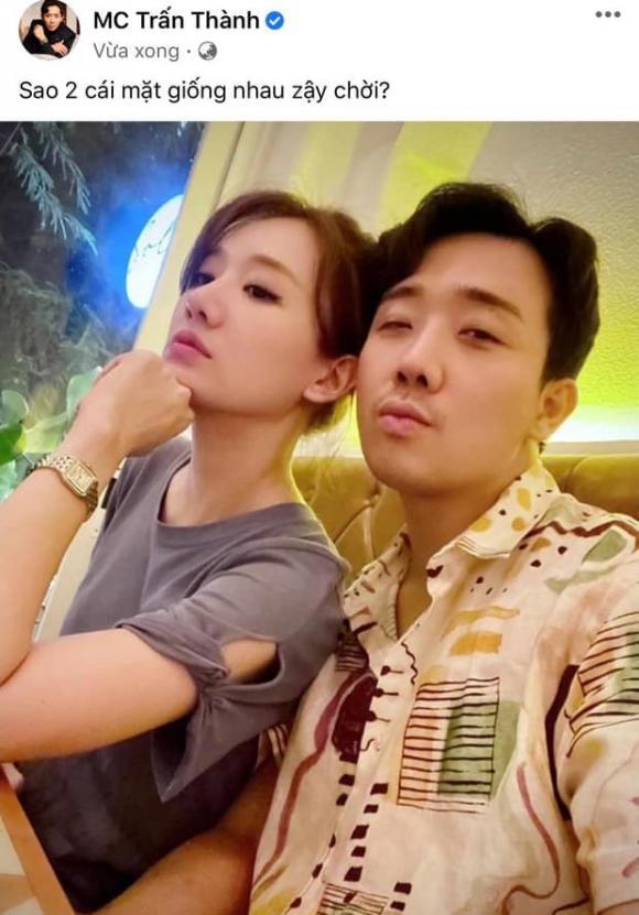 Trấn Thành khoe khoảnh khắc góc nghiêng bên Hari Won, thừa nhận quá giống nhau