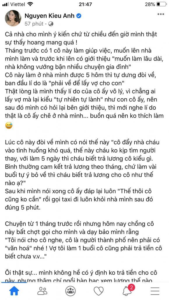 Ca nương Kiều Anh, sao Việt, người giúp việc