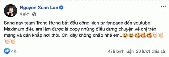 Sau chia sẻ về Trọng Hưng trên talkshow riêng, Xuân Lan tố bị Trọng Hưng công kích từ Fanpage đến Youtube