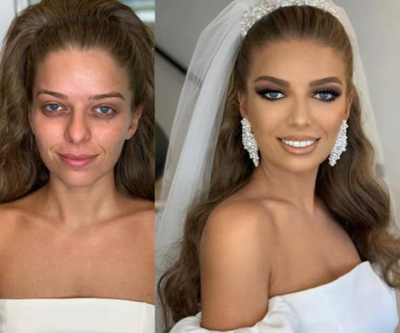 trang điểm cô dâu, cô dâu trước và sau trang điểm, trang điểm
