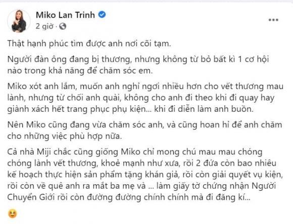 Miko Lan Trinh cập nhật trạng thái 'đã đính hôn', tính luôn chuyện ra mắt ba mẹ và kết hôn với bạn trai chuyển giới