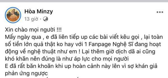 Hoà Minzy, sao Việt, từ thiện