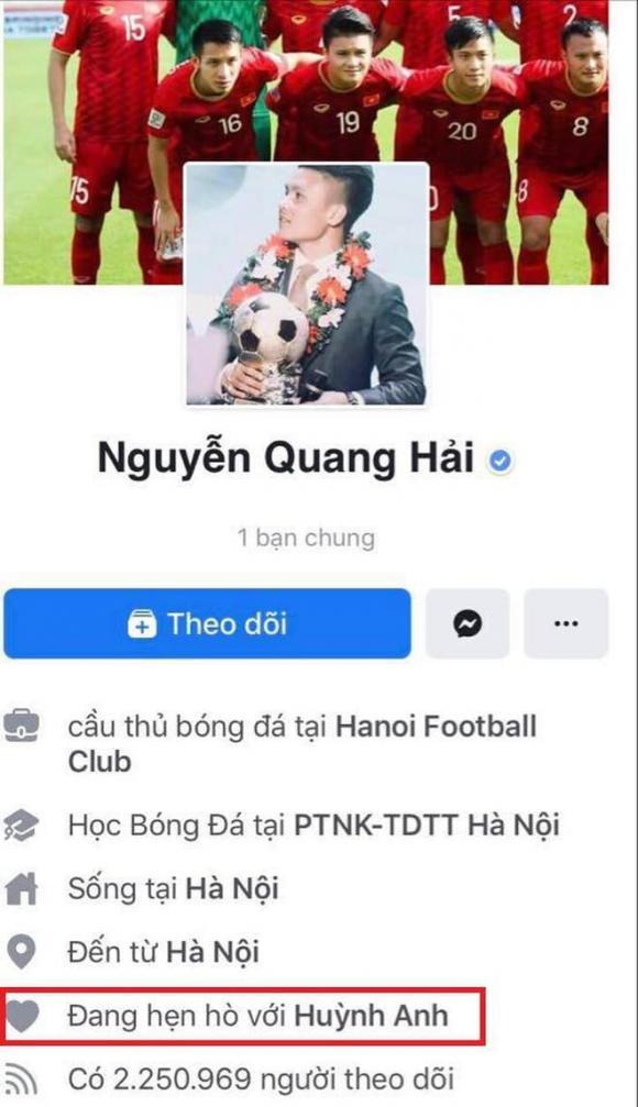 Quang Hải, cầu thủ Quang Hải, chuyện tình của Quang Hải