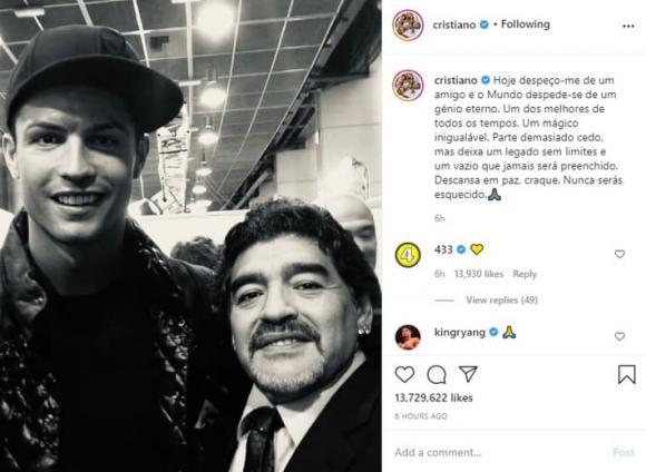 messi, ronaldo, maradona qua đời