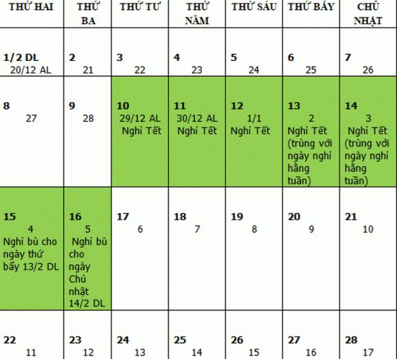 Tết Âm lịch, Tết Tân Sửu, Tết 2021, Lịch nghỉ Tết
