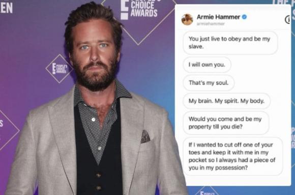 Diễn viên Hollywood,  Armie Hammer,  tin nhắn khiêu dâm