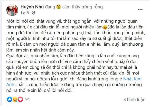 Vợ Khánh Đơn bất ngờ xin lỗi Nhật Kim Anh vì lời nói dối
