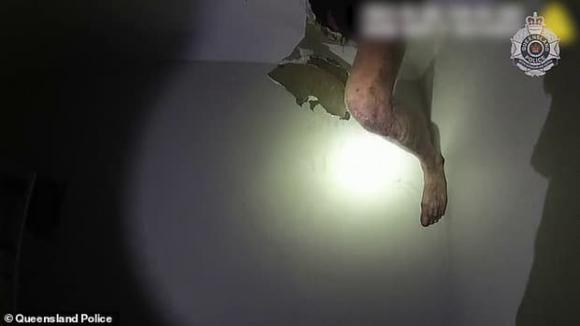 trộm trèo vào từ mái nhà, trộm bị mắc kẹt, trộm cắp, tội phạm