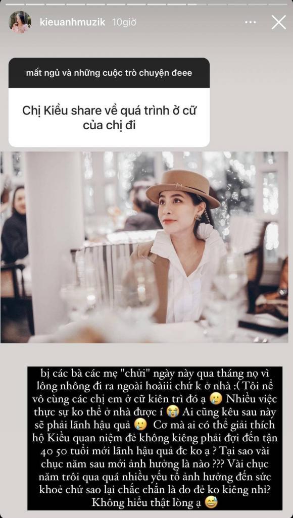 Ca nương Kiều Anh, sao Việt, kiêng cữ sau sinh