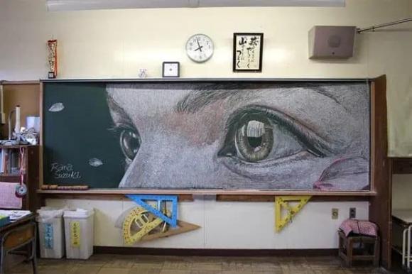 học sinh, Nhật Bản, hội hoạ, vẽ bảng