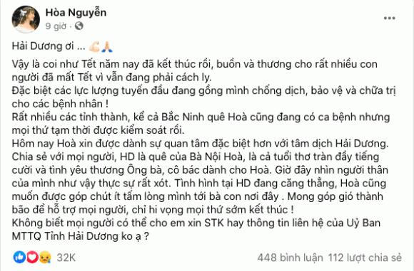 Hoà Minzy, Hải Dương, covid-19, sao Việt, ủng hộ