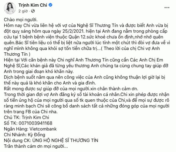 Trịnh Kim Chi, MC Phạm Anh, sao việt, đột quỵ, hoàn cảnh nghệ sĩ Thương Tín