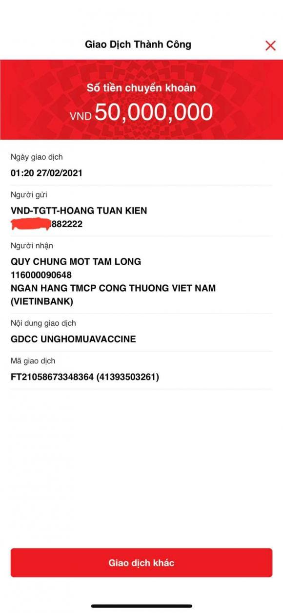 Trấn Thành, Kiên Hoàng, vắc xin Covid-19