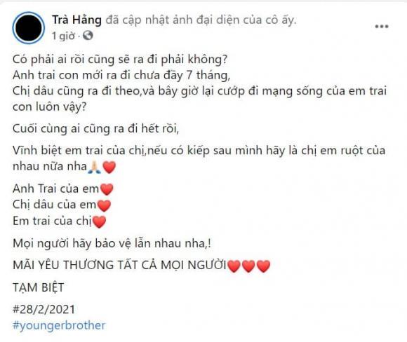 Trà Ngọc Hằng, em trai Trà Ngọc Hằng qua đời, sao Việt