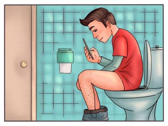 ngồi nhà vệ sinh, xem điện thoại khi đi vệ sinh, kiến thức
