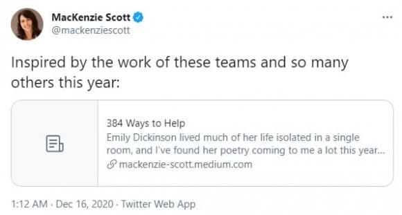 MacKenzie, tỉ phú, MacKenzie Scott