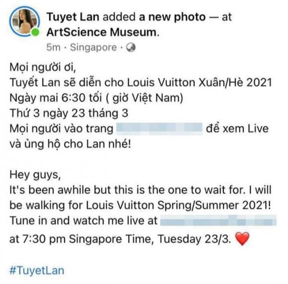 Người mẫu tuyết lan,á quân vietnam's next top,Louis Vuitton