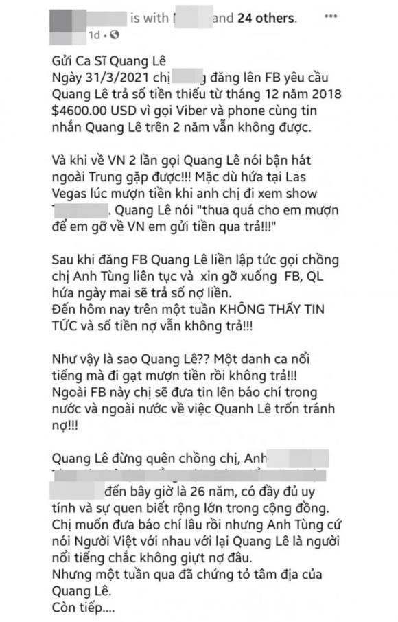ca sĩ Quang Lê, sao Việt
